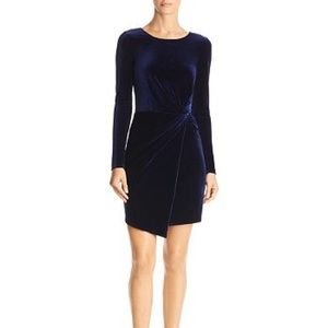 aqua twist front long sleeve velvet dress